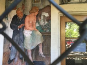 Mural by Victor Arnautoff depicting Sir William Osler and a patient at the Roth Building in Palo Alto