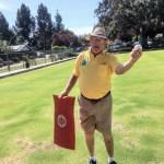 Joe, explaining lawn bowling at the Sunnyvale Lawn Bowling Club