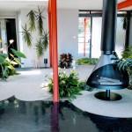 X-100 indoor garden and fireplace
