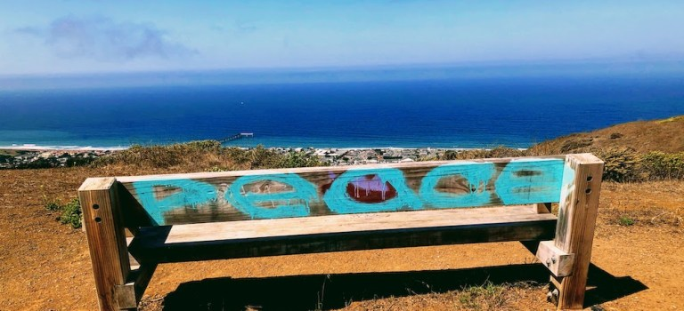 Bench with spray painted Peace