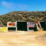 Entrance to a bunker with graffiti at Milagra Ridge, Pacifica.