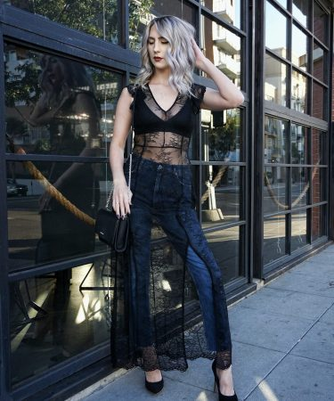 Black Lace Maxi Over Jeans
