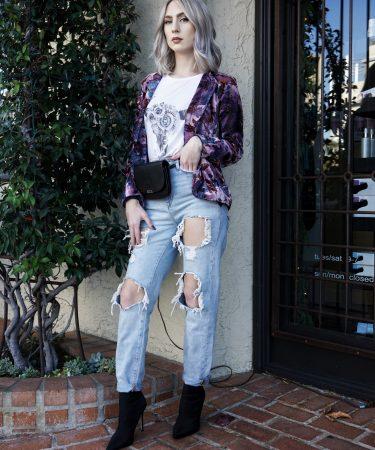 Blogger Inspired: Boho Chic In Velvet Blazer and Ripped Jeans