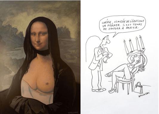 """Alex Varenne, Les seins de Mona Lisa, 2003. / George Wolinski, """"Chérie, le musée de l'érotisme va fermer, il est temps de songer à partir"""". (c) Cornette de Saint-Cyr"""