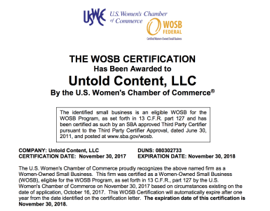 WOSB Technical Writer | Woman Owned Small Business Untold Content