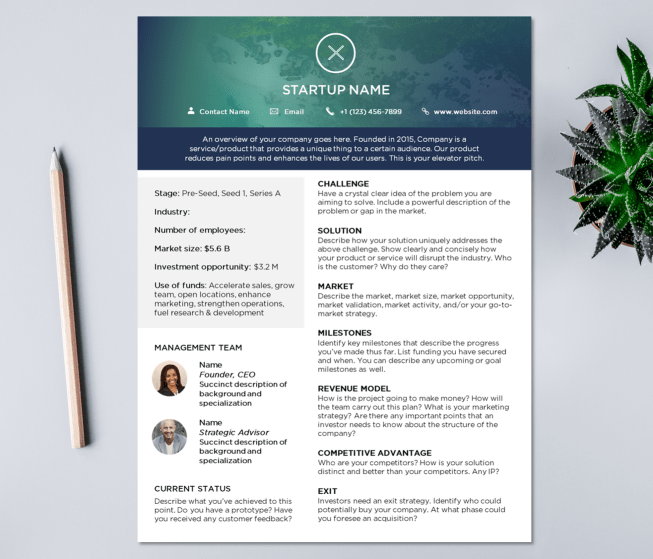 startup one pager template for investors PowerPoint