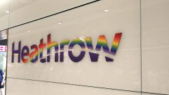 Heathrow airport logo at arrivals hall