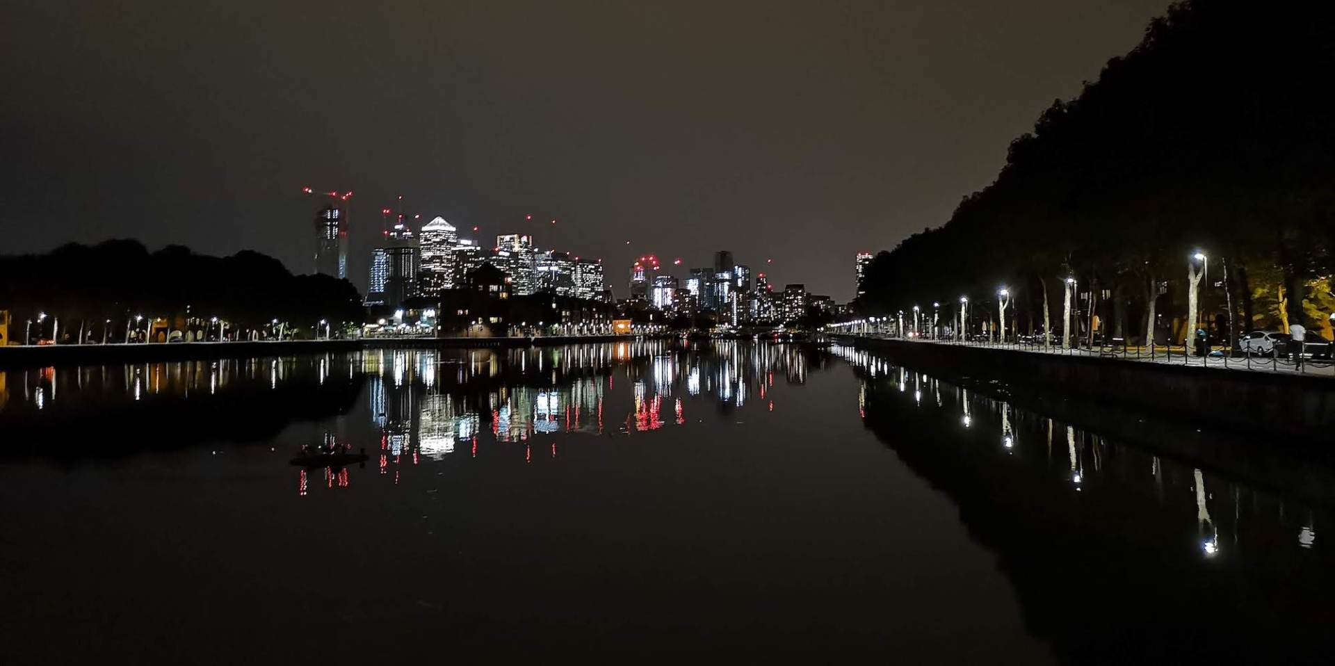 View of Canary Wharf from Greenland Quay dock