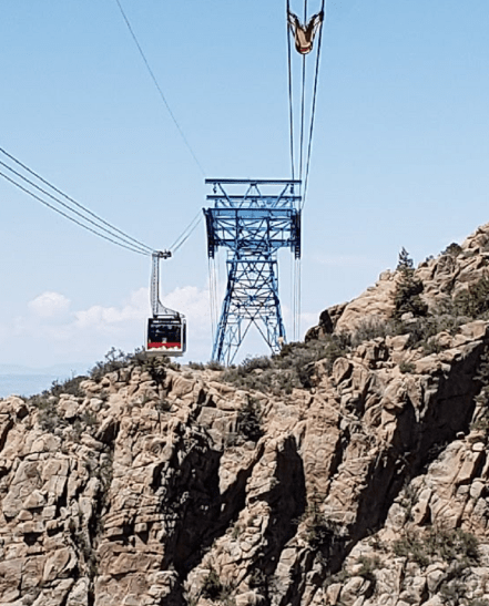 Sandia Tram passes over rugged mountains
