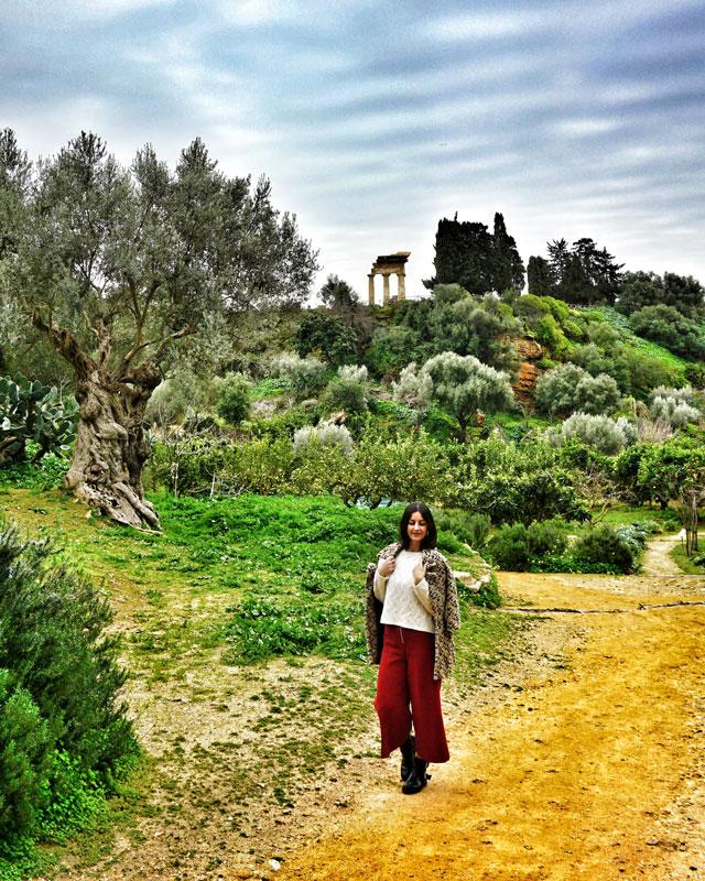 Il Tempio dei Dioscuri visto dai giardini della Kolymbethra di Agrigento
