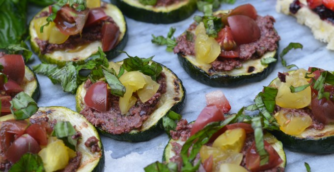 Grilled Zucchini Canapés with Olive Tapenade and Cherry Tomatoes