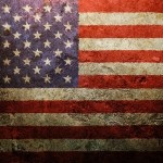 American flag worn out