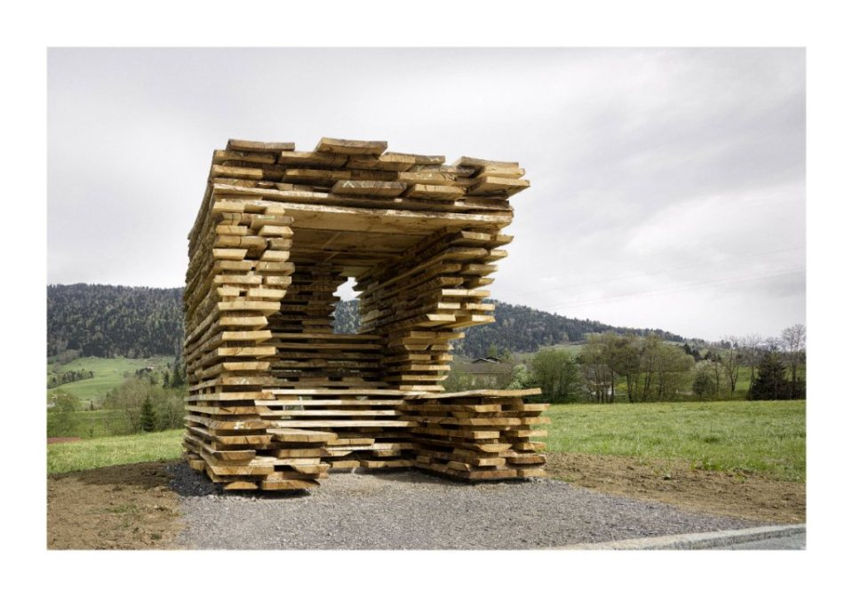 "Ensamble Studio, Spain: ""Ensamble Studio's BUS:STOP for Krumbach explores the appropriation of a local technique used to stack wood planks in the drying barns in the region."" (Photo: Adolf Bereuter/BUS:STOP Krumbach)"
