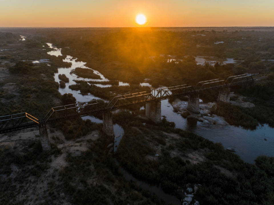An aerial view of the Skukuza Bridge in Kruger National Park