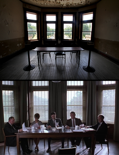 Top Image: The room used for the parole board hearing scenes as it appears today. Bottom Image: A still from the film showing the same room.