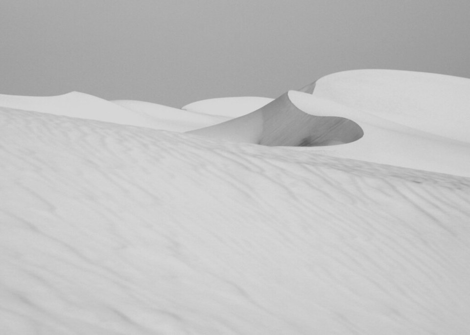 White Sand Dune. In the Western Desert of Egypt. Black and white photography by Donna Corless.