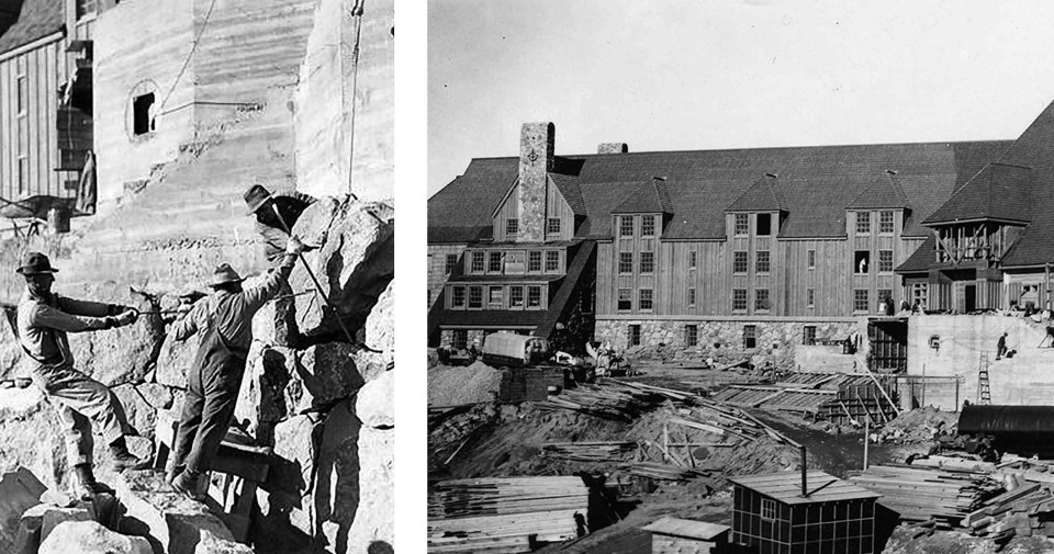 Construction of Timberline Lodge