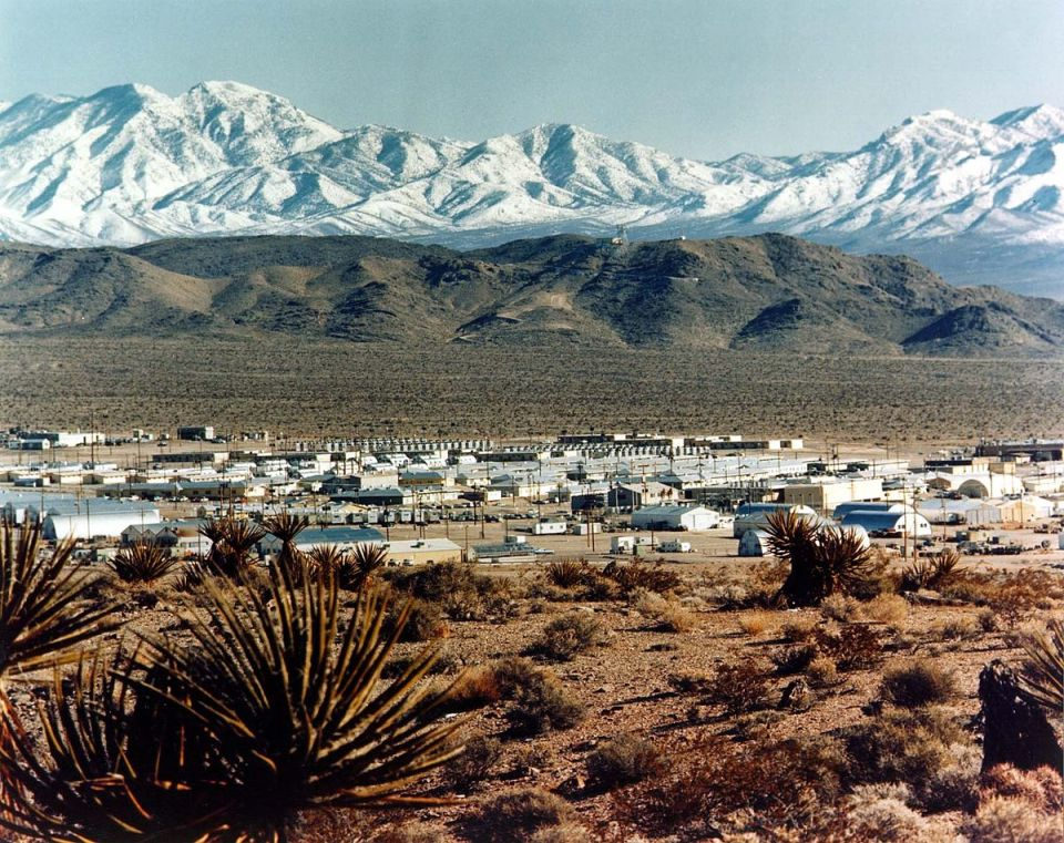 The town in the distance is Mercury, Nevada