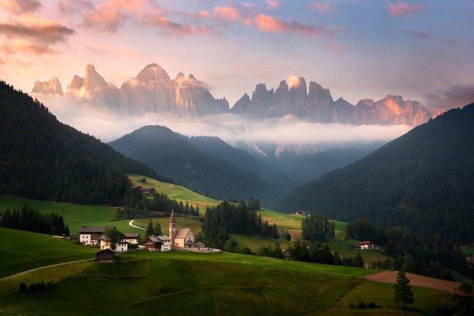 Sunrise at Santa Maddalena in the Italian Dolomites