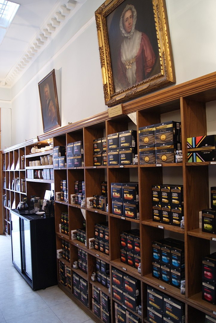 The interior of the Twinings Strand Heritage Shop in London, England