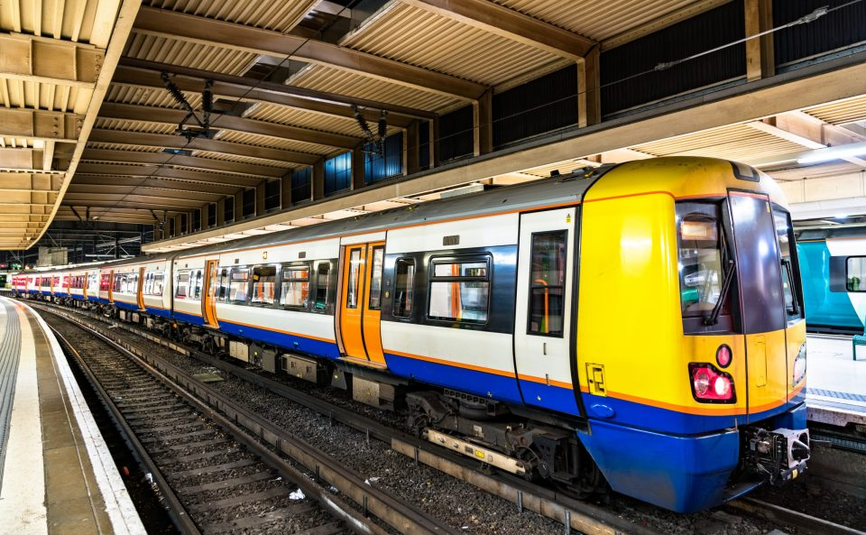 Commuter train at London Euston station in England