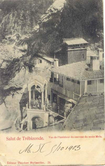Sumela Monastery as illustrated in a postcard addressed in 1903