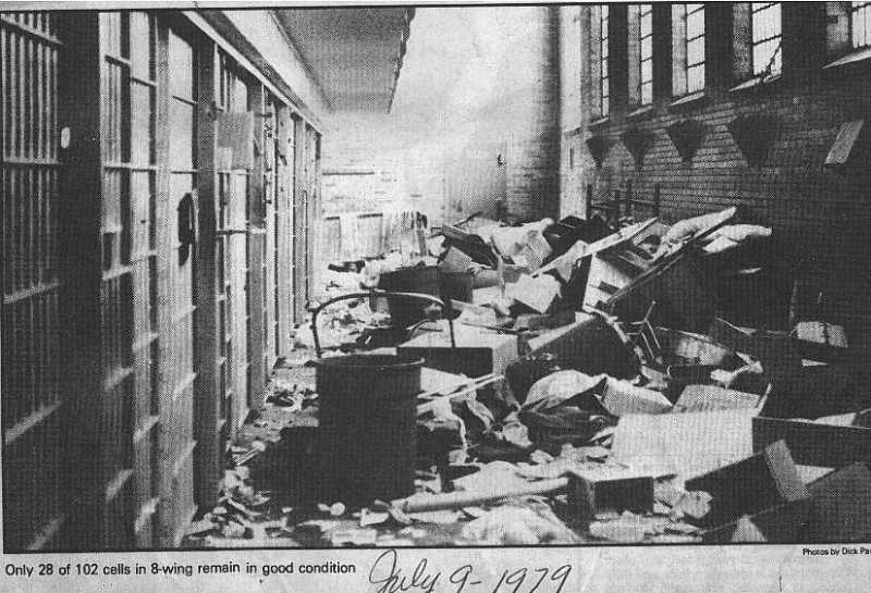 Debris from the riot in Eight Wing on July 7, 1979