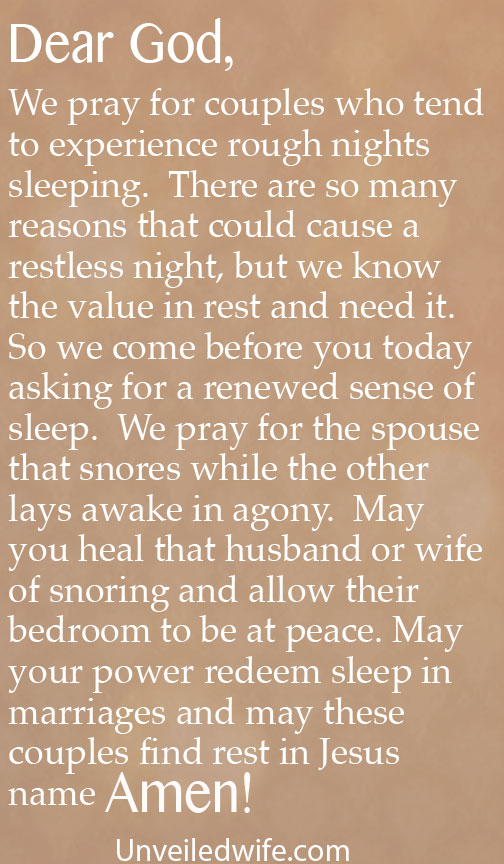 Prayer Of The Day When Spouses Snore