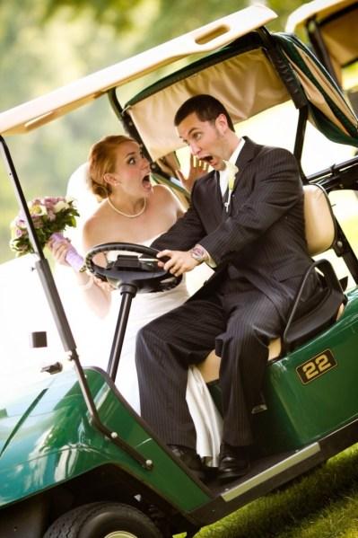Bride going crazy in golf cart