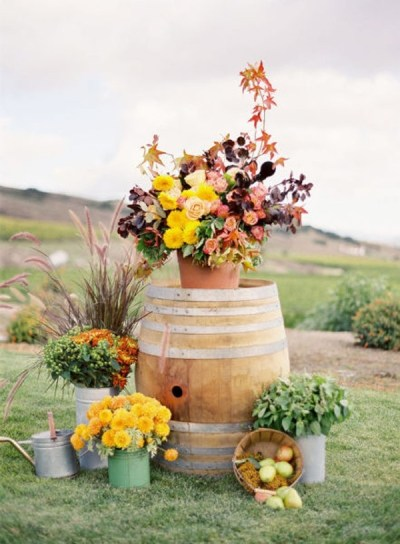 Wine Barrel Flower arrangement