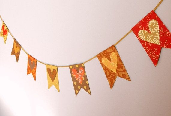 fall heart flag banner