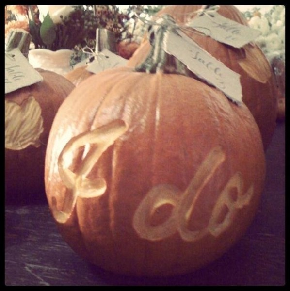 "Carved pumpkin ""I do"" table cards"