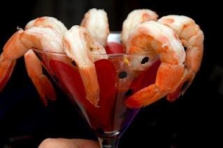 shrimp in glass