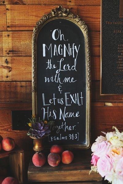 gold frame and psalm chalk sign