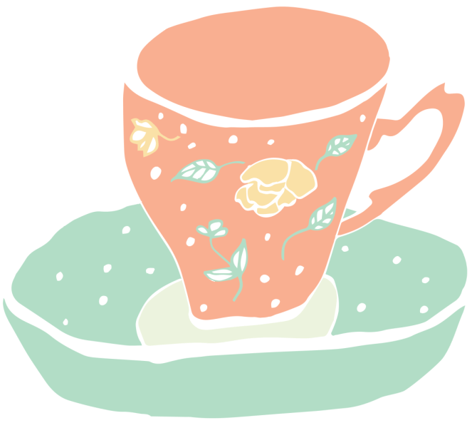 Orange and teal tea cup