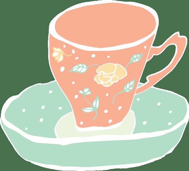 Orange and teal tea cup
