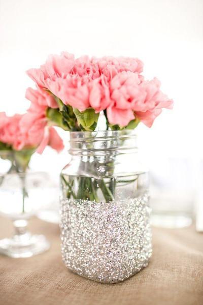 Silver Glittered Mason Jar Vase