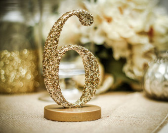 Gold Glitter DIY Table Number