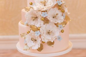 Blush Pink and Gold Cake with Flowers
