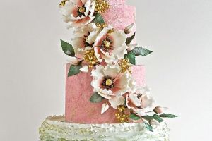 Pink and Sage colored cake