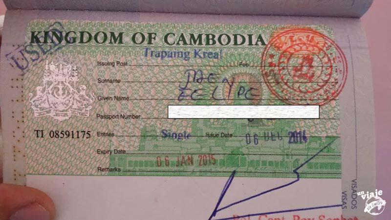 Visado de turista on arriva de Camboya