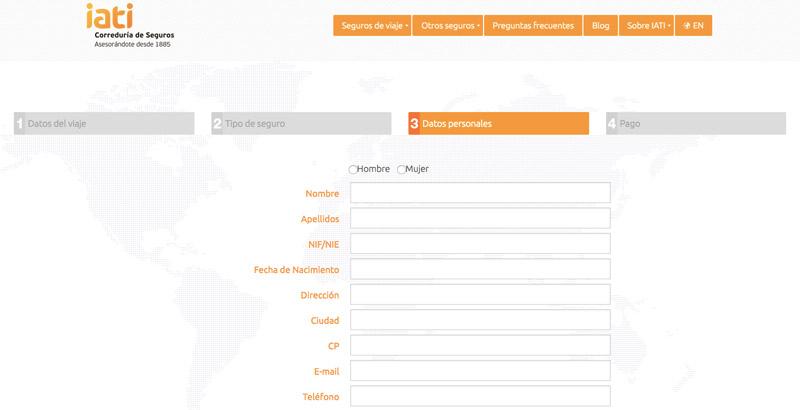 Introducir datos personales, formulario seguro de viaje IATI.