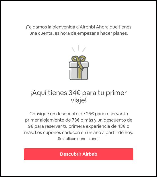 Regalo de 34€, en tu primera reserva de airbnb.