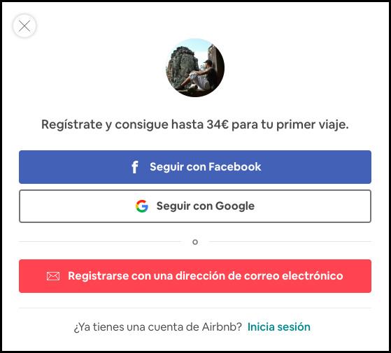 Registrate en airbnb con facebook, alojamiento barato.