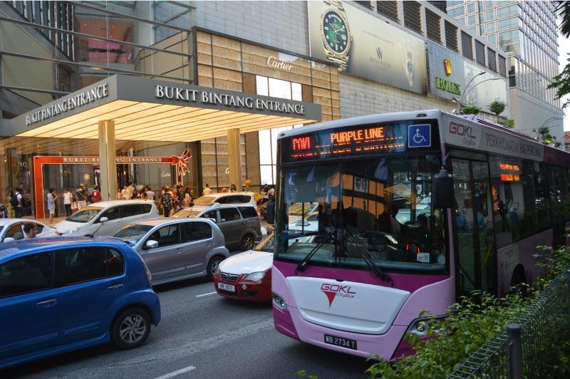 Autobus gratuito en Kuala Lumpur, de Bukit Bintang a las torres petronas.