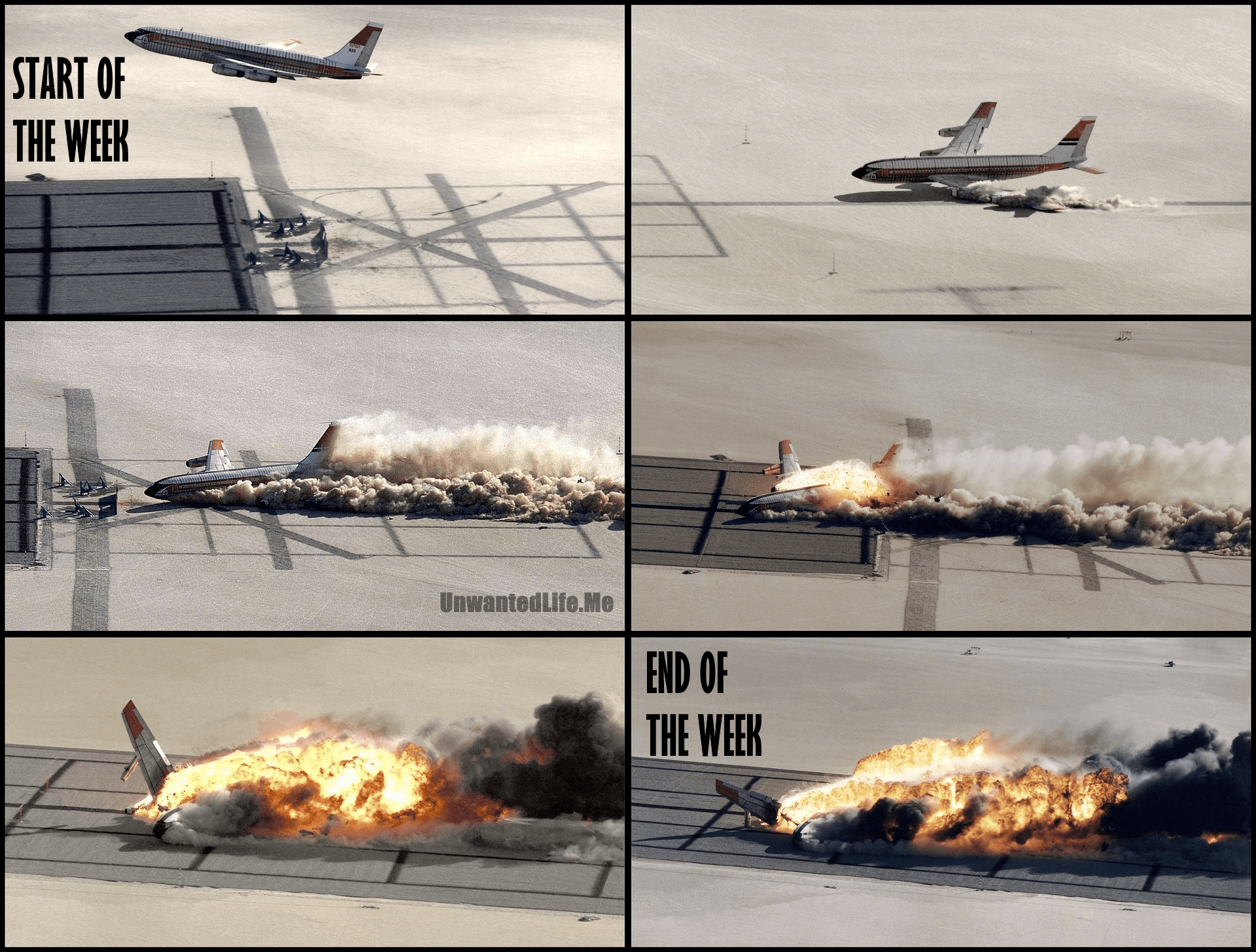 A plane crash separated into several images to show how a week can go from good to bad