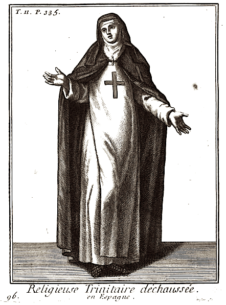 Does the placement of the cross on this Trinitarian Sister's garment from 1721 render her immodest?