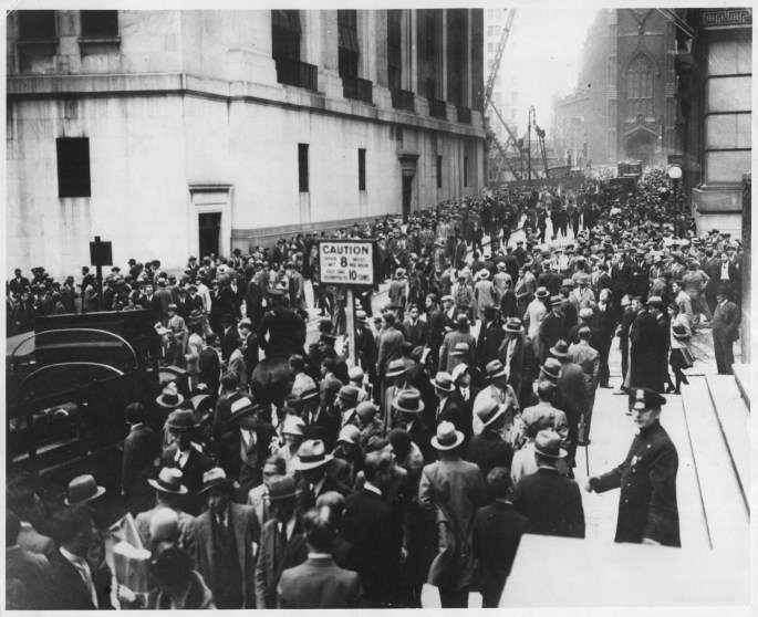 Wall Street in panic due to heavy trading. October, 1929.  306-NT-157.062C