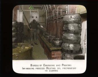 Bureau of Engraving and Printing. Ink making process. Heating oil preparatory to burning. RG 56-AE-98.