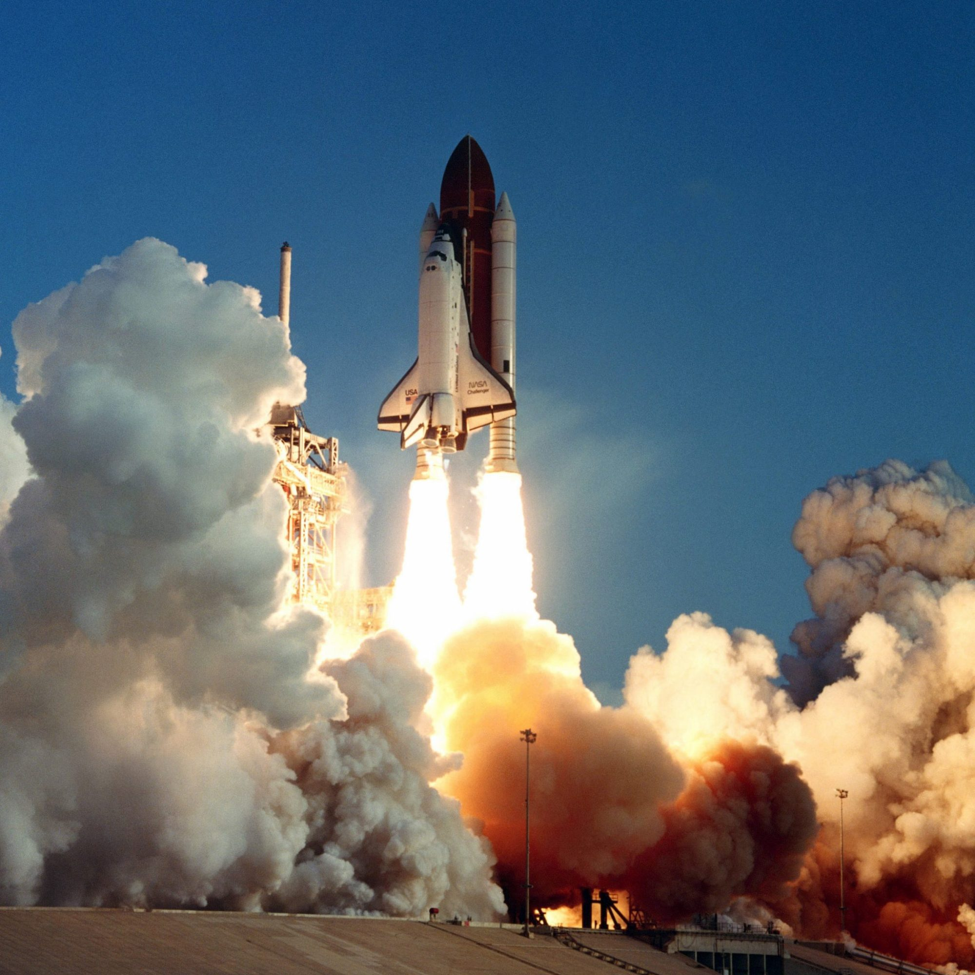 The space shuttle orbiter Challenger lifts off from Complex 39A at 7:33 a.m. EDT. Aboard the seventh flight of the Space Transportation System (STS-7) are: Bob Crippen, commander; Frederick H. Hauck, pilot; and mission specialists Sally Ride, John Fabian and Dr. Norman Thagard. 330-CFD-DF-SC-84-04517